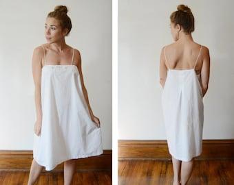 1920s White Cotton Camisole Slip - L/XL