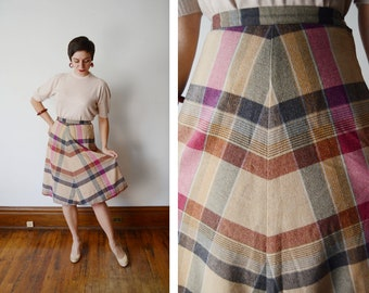 1970s Pink and Tan Plaid Skirt - S/M