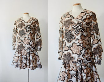 1960s Brown Floral Mini Dress - S