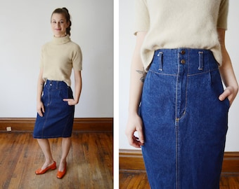 1980s Denim High Waist Skirt - XXS/XS