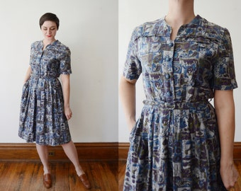1950s Dress / Blue Cotton Novelty Dress - M