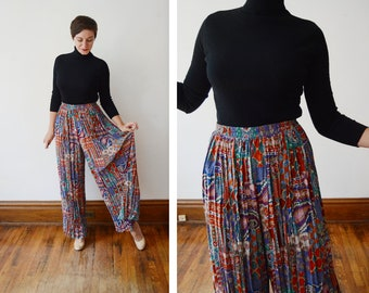 1980s Wide Leg Patterned Pants - M/L