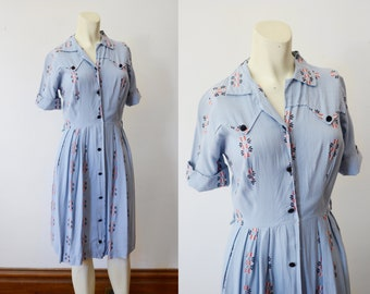 1950s Rayon Blue Shirtdress - XS