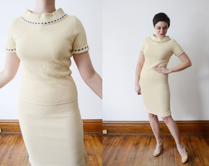 1960s Cream Knit Top and Skirt Set - S