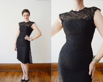 1950s Black Lace Cocktail Dress - S