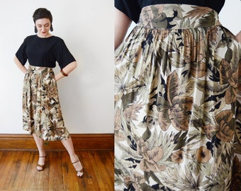 1980s Botanical Leaf Print Skirt - L/XL