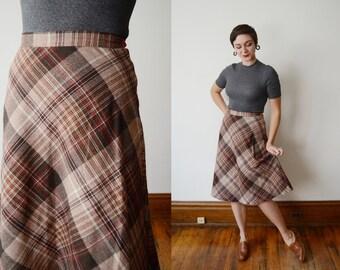 1970s Aline Brown Plaid Skirt - S/M