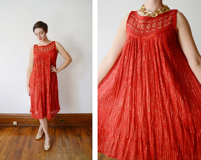 1970s Red and Gold Gauze Dress - S/M