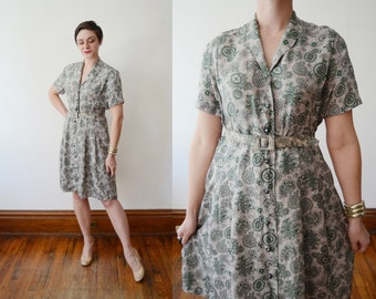 1950s Green Patterned Dress - S/M