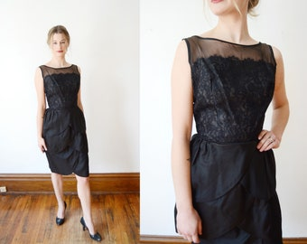 1950s Black Organdy Petal Cocktail Dress - XS