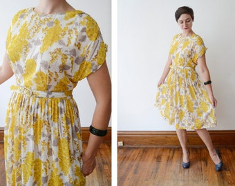 1960s Nylon Yellow Floral Dress - M