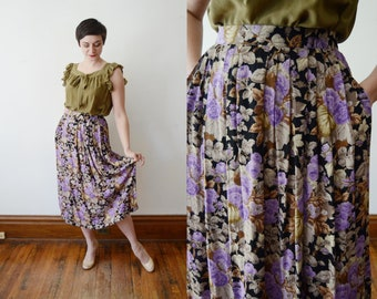 Floral Rayon Skirt / Black and Purple Floral Skirt - M