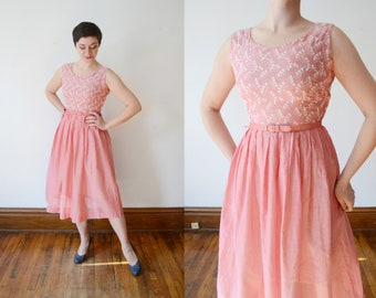 1950s Pink Embroidered Dress - S