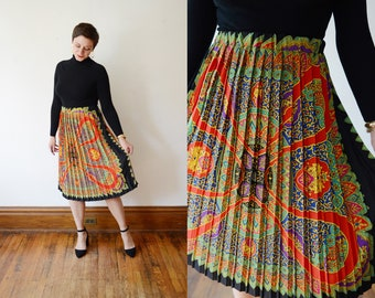 1980s Pleated Scarf Print Skirt - M/L/XL