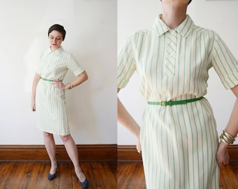 1960s Green Striped Dress - S