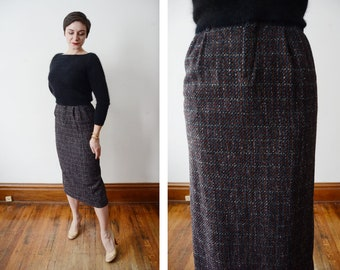 1980s Tweed Pencil Skirt - S
