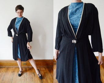 1940s Redingote / Black Jacket with Lucite Button - M/L