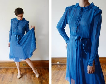 Late 1970s Albert Nipon Blue Silky Secretary Dress - S
