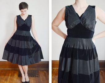1950s Taffeta and Velvet Horizontal Striped Dress - M
