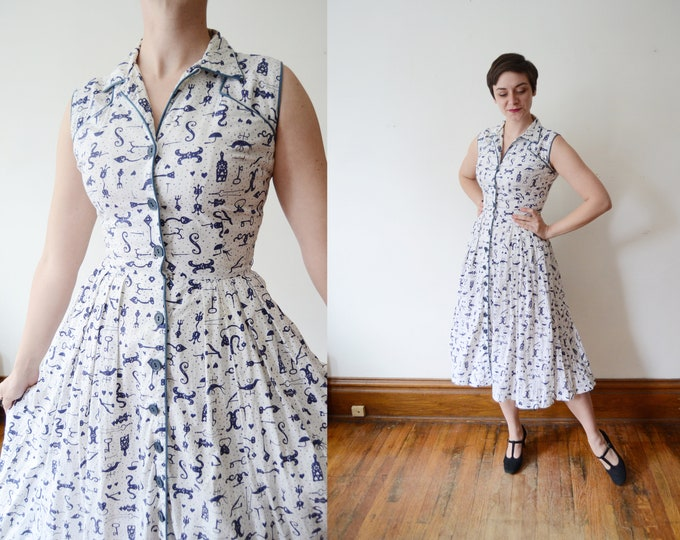 1950s Key Novelty Print Cotton Dress - S