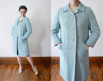 1960s Blue Wool Coat - S/M