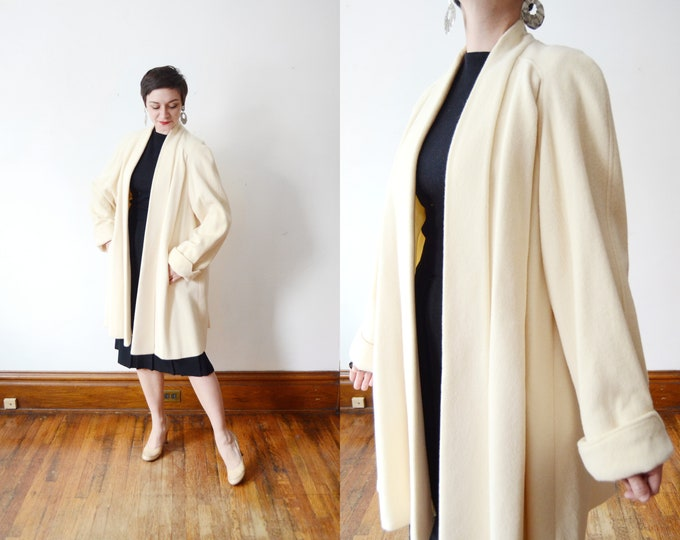1980s Cream Wool Swing Coat - M