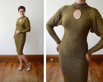 1980s Gold Knit Dress with Keyhole Neck - S/M/L