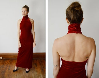 1990s Stretch Velvet Red Maxi Dress - XS/S