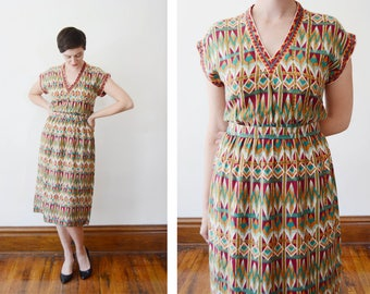 1970s/1980s Slip on Patterned Dress - S