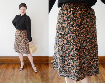 1970s Floral Cotton Velvet Skirt - S