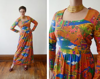 1970s Orange Novelty Print Maxi Dress - M