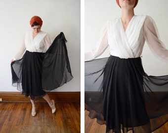 1980s Black and White Chiffon Party Dress - S/M