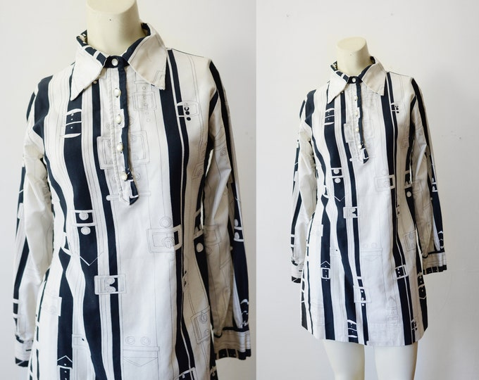 1970s Belt Buckle Novelty Mini Dress - XS