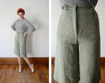 1970s Green Herringbone Gaucho Pants - S