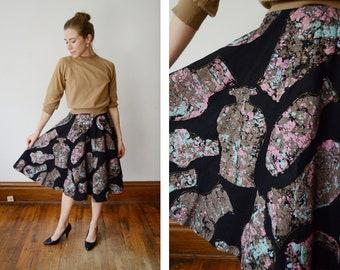 1950s Black Felt Circle Skirt - XS