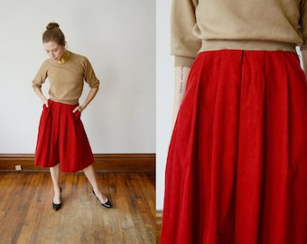 1970s Red Corduroy Culottes - XS