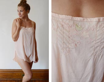 1920s Pink Silk Step In Teddy - S