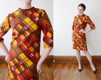 1960s Modern Art Wool Shift Dress - S/M