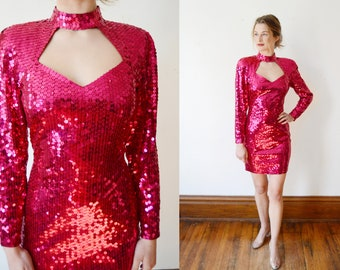 1980s Hot Pink Sequined Cocktail Dress - XS