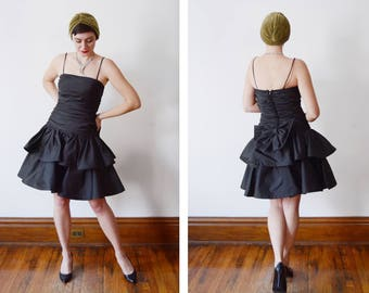 1980s Black Ruffled Party Dress - S