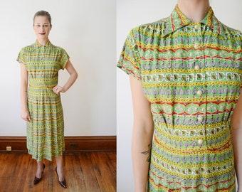 1940s Rayon Jersey Dress - XS/S