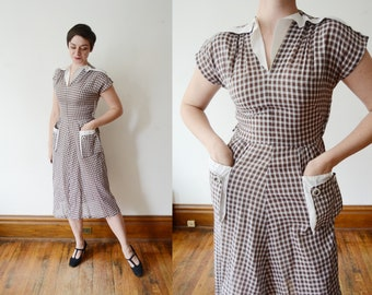 1940s Brown Gingham Dress - S