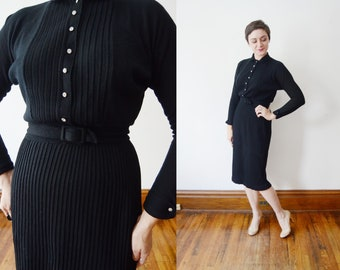 1950s Black Knit Top and Skirt - S