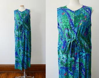 1970s Hawaiian Barkcloth Maxi Dress - M