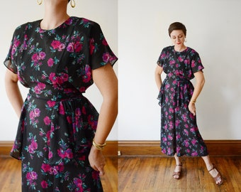 1980s Sheer Floral Black Dress - M/L