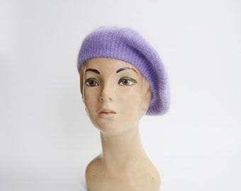 Deadstock Purple Angora Knit Beret
