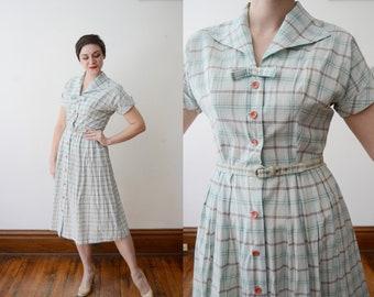 1950s Plaid Cotton Dress - M
