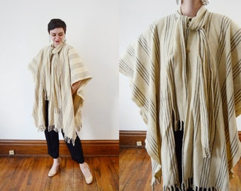 Cream Wool 1970s Poncho - OSFM