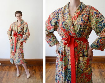 1970s Cotton Batik Robe - S/M/L