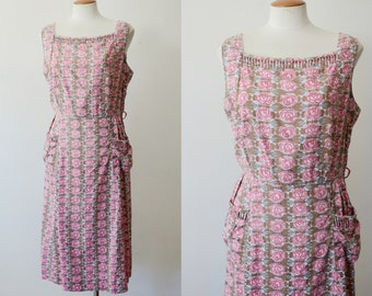 1950s Faded Rose Cotton Dress - M/L